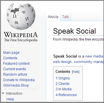 Speak Social Wikipedia